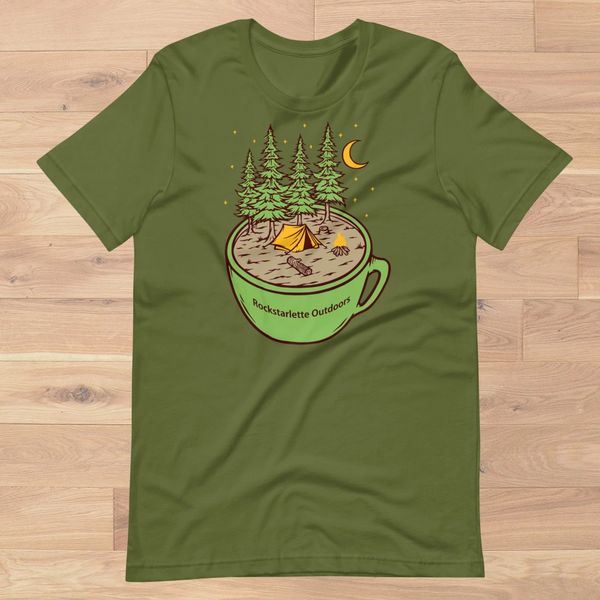 Cup of Camping Logo T Shirt, Women's S-XL (0-18), Olive or Sunshine