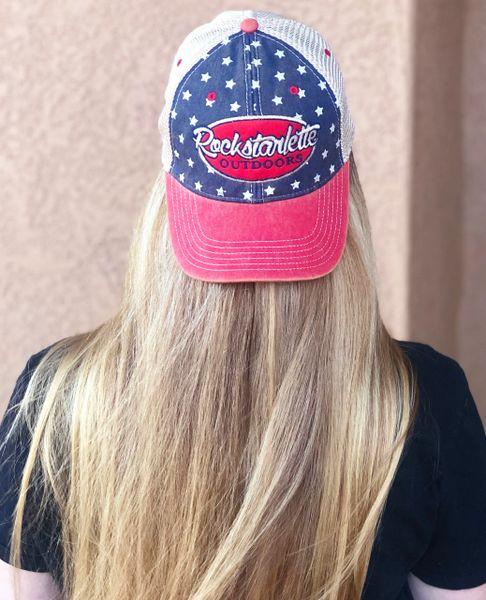 Proud American, Vintage Wash Rockstarlette Outdoors Logo Mesh Back Hat NEW!