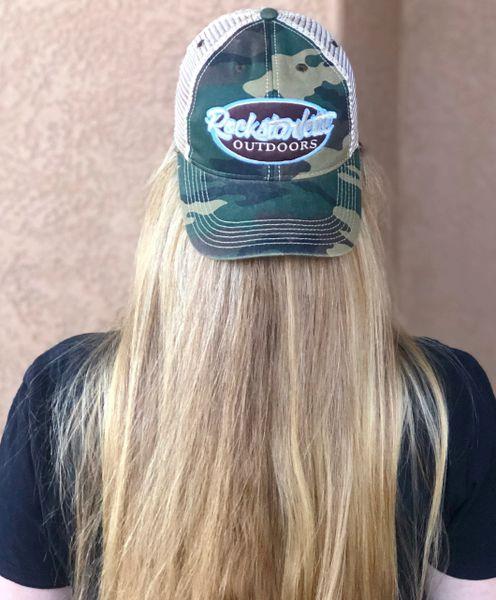 Camo Rockstarlette Outdoors Logo Mesh Back Hat, NEW