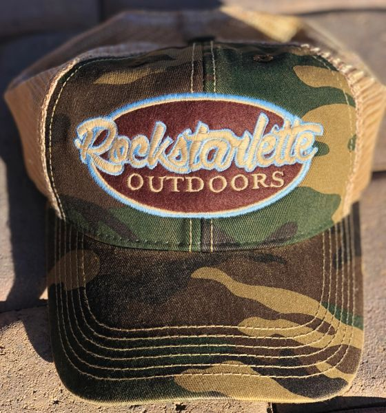 Camo Rockstarlette Outdoors Logo Mesh Back Hat, NEW