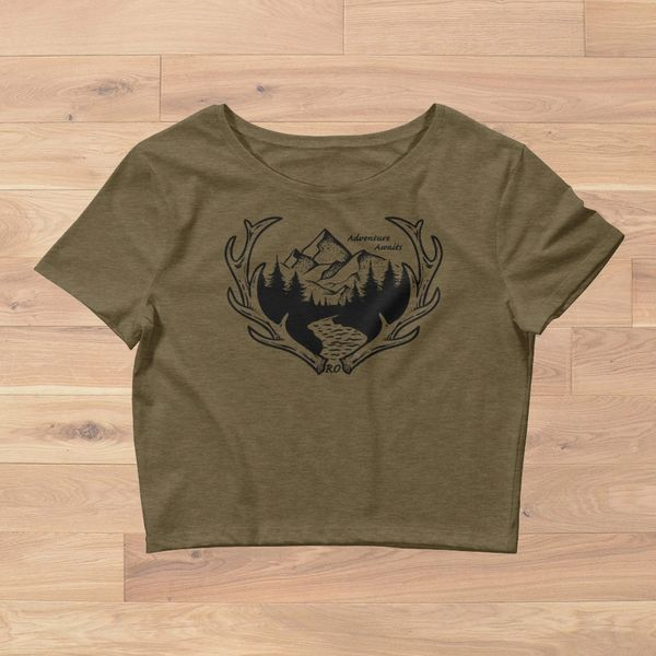 Adventure Awaits, Crop Top Fitted T shirt, Olive