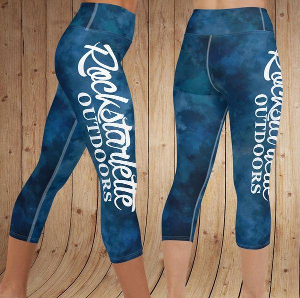 Watercolor Rockstarlette Outdoors Logo Yoga CAPRI, Wide Waistband