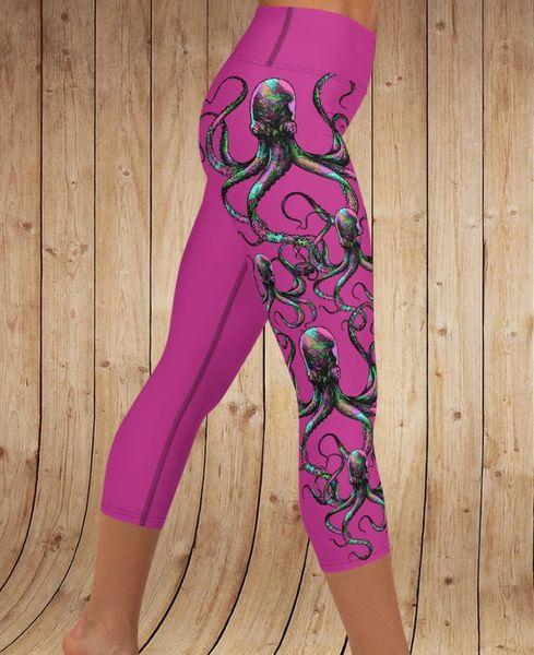 Octopus Yoga CAPRI Leggings, Hot Pink
