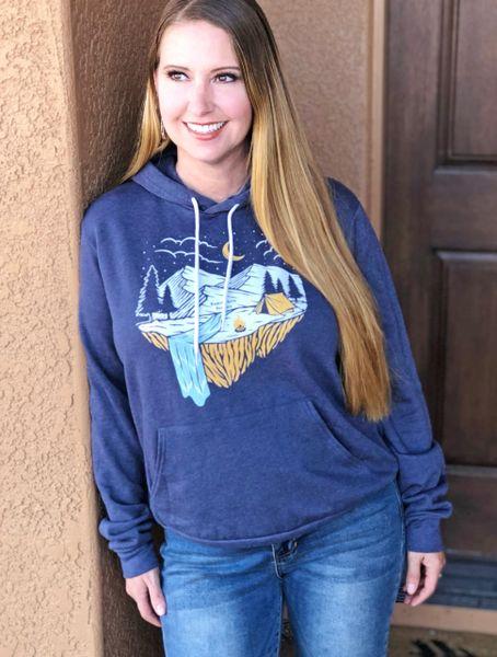 Perfect Weekend Fleece Lined Pullover Hoodie, Indigo Blue NEW!