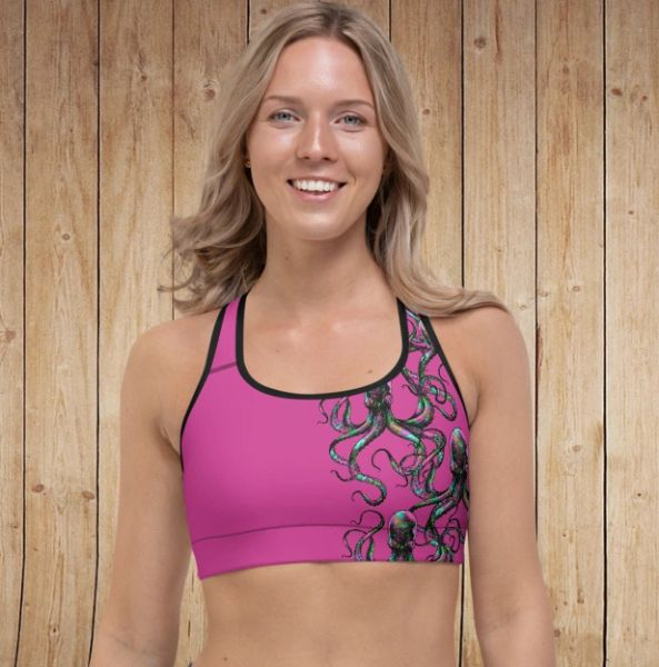 Sports Bra/ Athletic Top, Octopus Logo, Hot Pink