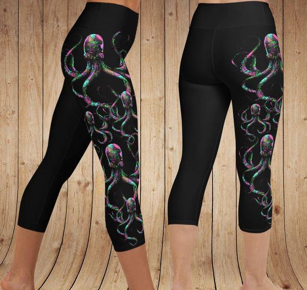 Octopus Yoga CAPRI Leggings, Black (Option to Make Full Length)