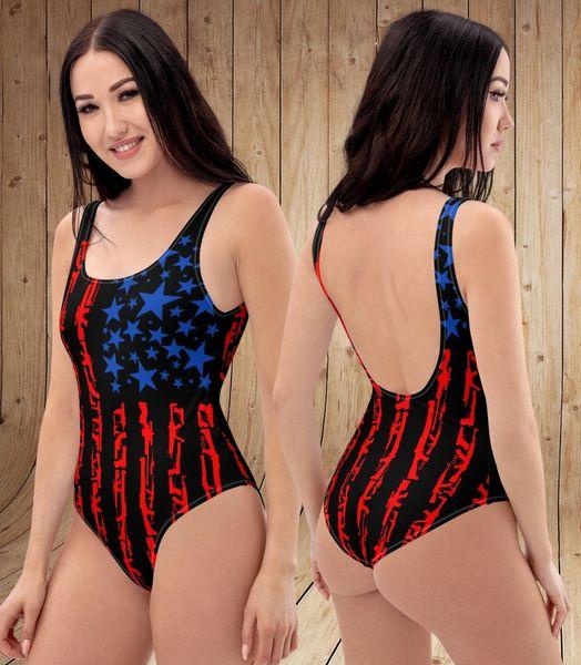 Patriot 2A Gun Flag One Piece Swimsuit, NEW!