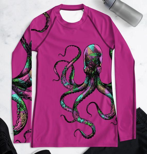 UPF 40, Sun Shirt/Rash Guard: Octopus Logo, Hot Pink, Blue or Black