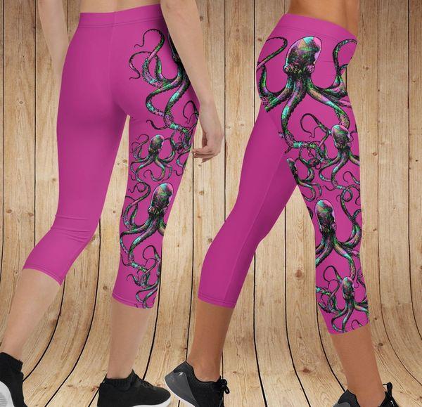 Octopus Logo CAPRI Leggings, Hot Pink (Option to make full length)