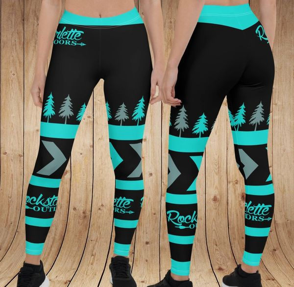 Teal Tree Rockstarlette Outdoors Leggings, (Option to Add Wide Yoga Waistband)