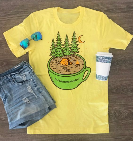 Cup of Camping Logo T Shirt, Women's S-2XL (0-18), Sunshine, or Dark Brown