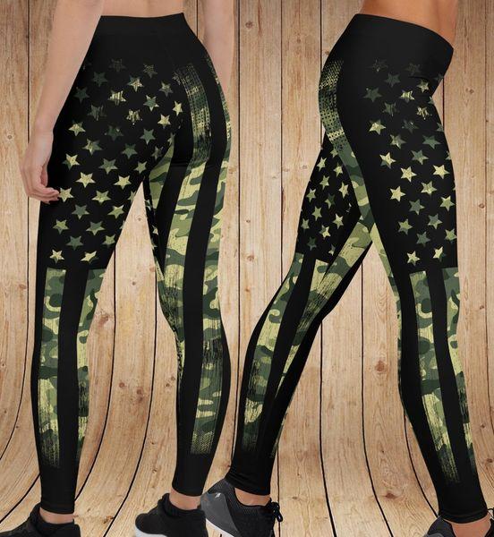 Camo Flag Pattern Patriotic Leggings, (Option to Add Wide Yoga Waistband)