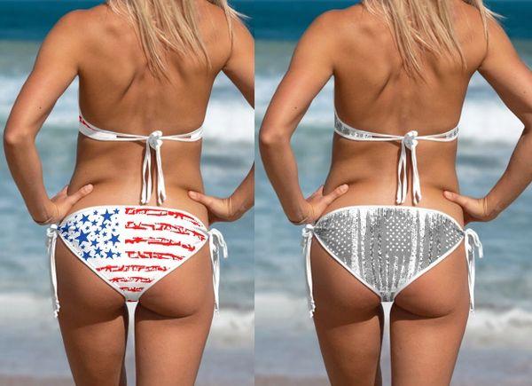 Separates: 2A Gun Flag Patriotic Reversible Bikini Bottom, Get 2 for the price of 1
