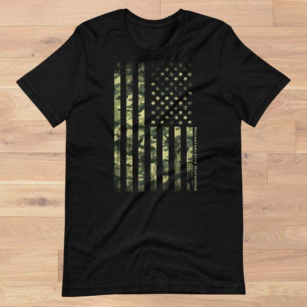Camo Flag Patriotic T Shirt, Women's S-3XL (0-18), Heather Charcoal NEW!