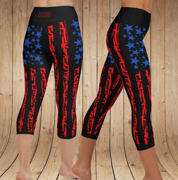 Patriot 2A Gun Flag Yoga Logo CAPRI Leggings, (Option to make full length)