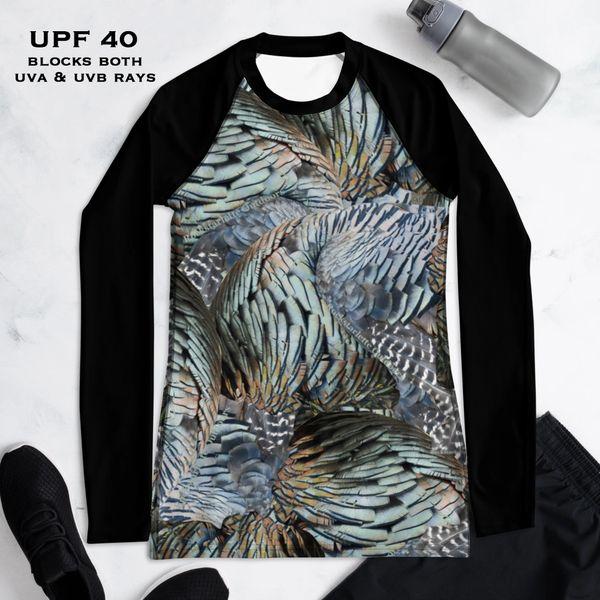UPF 40, Sun Shirt/Rash Guard, Turkey Feather Pattern