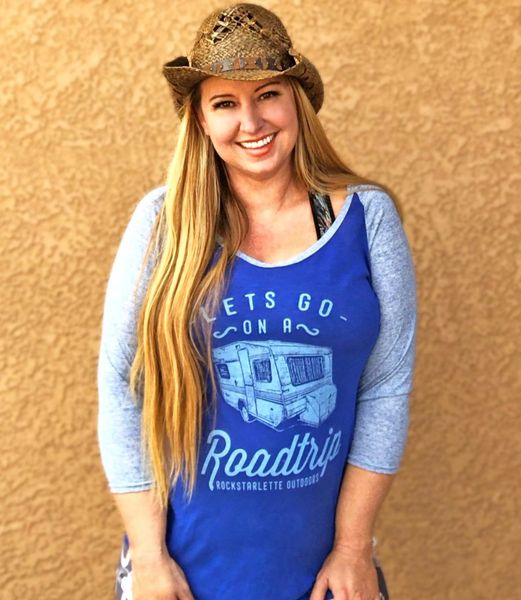 SALE 20% OFF, Lets Go On A Roadtrip, Blue, Raglan 3/4 Sleeve Rockstarlette Outdoors T Shirt