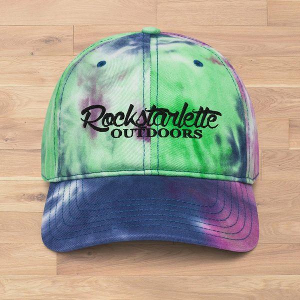 Tie Dye Rockstarlette Outdoors Logo Hat, Purple, Blue and Green, NEW