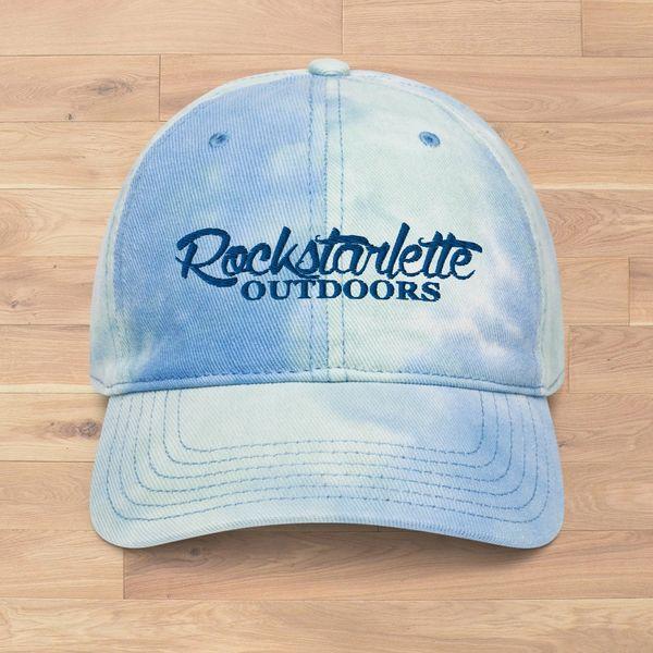 Rockstarlette Outdoors Tie Dye Logo Hat, Light Blue and Ivory, NEW