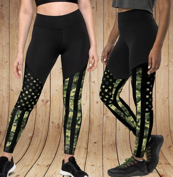 Camo Flag Compression Leggings, with Phone Pocket NEW! XS-3XL