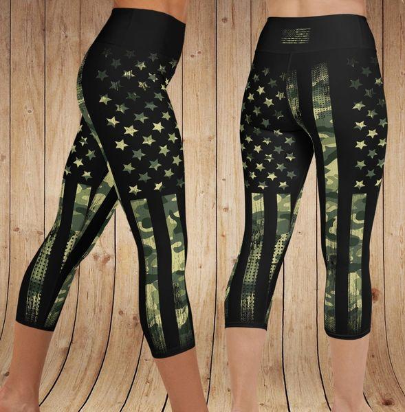 Camo Flag Patriotic YOGA CAPRI Leggings, NEW! (Option to make full length)