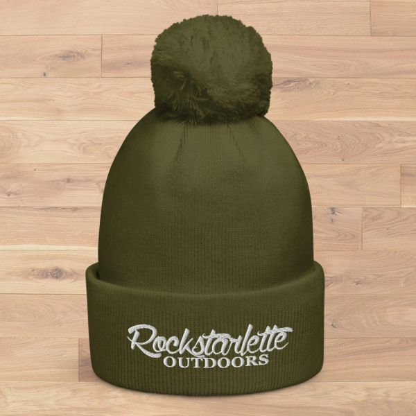 NEW Rockstarlette Outdoors Logo Knit Hat in Moss with Pom Pom