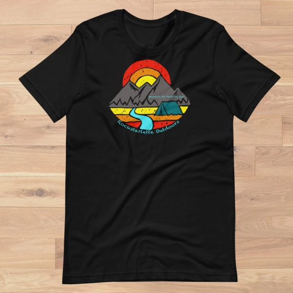Mountain Air Feeds My Soul, Relaxed Fit Logo T Shirt, Women's S-3XL (0-22), Black