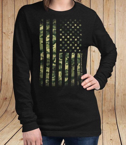 Camo Flag Long Sleeve T Shirt, Black, NEW, Sizes 0-22