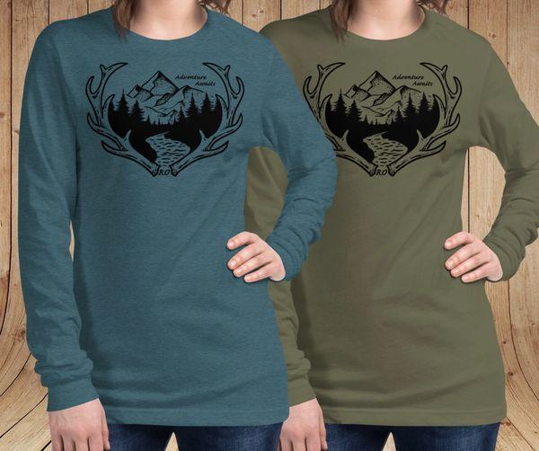 Adventure Awaits Logo Long Sleeve T Shirt, Heather Deep Teal or Olive, Sz 0-22