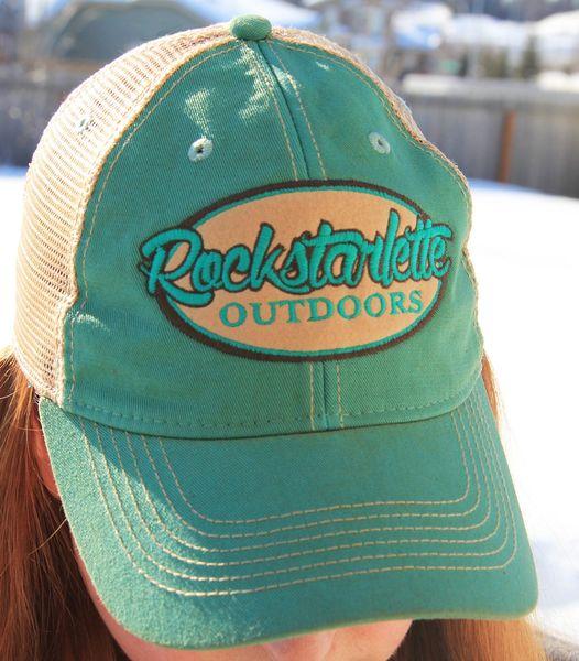 SALE 10% OFF, Teal Rockstarlette Outdoors Logo Mesh Back Hat