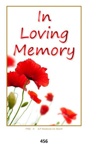Single Memorial Card 456