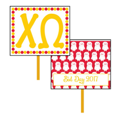 Chi Omega Logo Bid Day Hand Fan