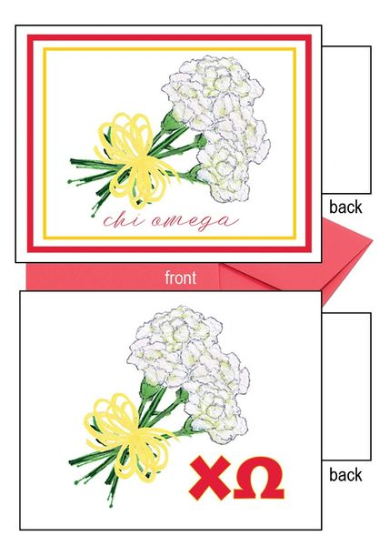 Chi Omega Logo Flower Notecards