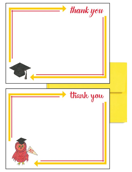 Chi Omega Logo Graduation Postcards