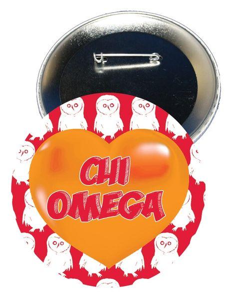 Chi Omega Logo Heart Button