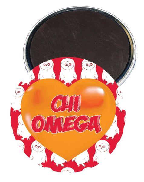 Chi Omega Logo Heart Magnet