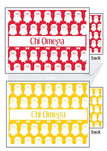 Chi Omega Logo Sorority Notecards