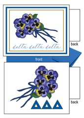 Delta Delta Delta Flower Notecards