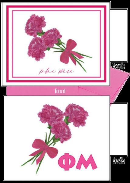 Phi Mu Flower Notecards