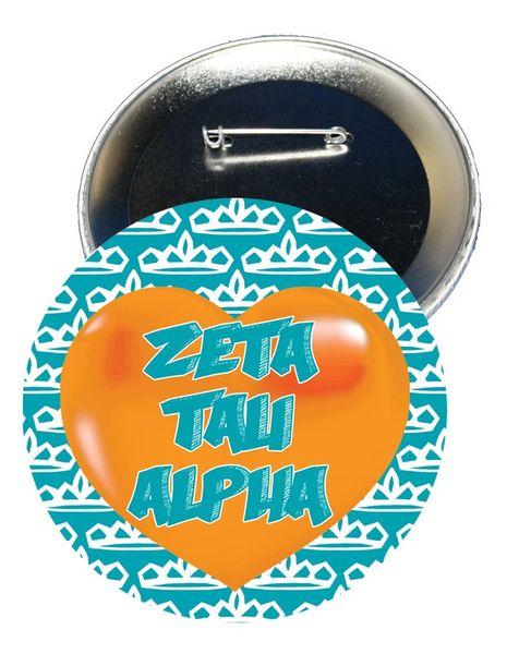 Zeta Tau Alpha Heart Button