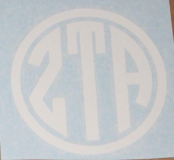 "Zeta Tau Alpha Vinyl Decal - 5"" Circle White"