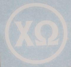 "Chi Omega Vinyl Decal - 5"" White Circle"
