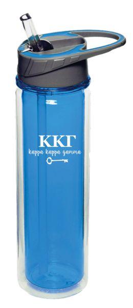 Kappa Kappa Gamma Plastic Water Bottle