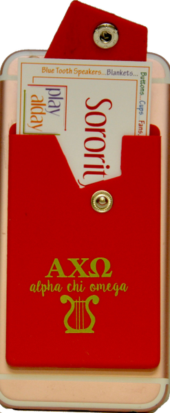 Alpha Chi Omega Cell Phone Pocket with Snap Closure