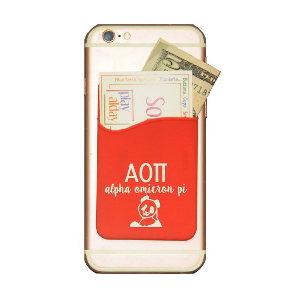 Alpha Omicron Pi Cell Phone Pocket - Red