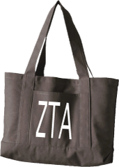 Zeta Tau Alpha Letters Canvas Tote Bag