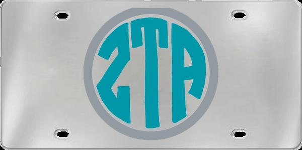 Zeta Tau Alpha Aluminum Monogram License Plate