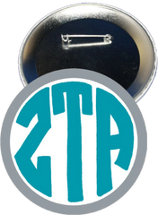 Zeta Tau Alpha Monogram Gray Button