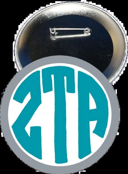 Zeta Tau Alpha Monogram Gray Button