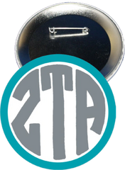 Zeta Tau Alpha Monogram Blue Button